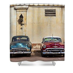 Shower Curtain featuring the photograph Two Old Vintage Chevys Havana Cuba by Charles Harden