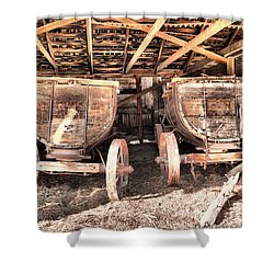 Shower Curtain featuring the photograph Two Old Wagons by Jeff Swan