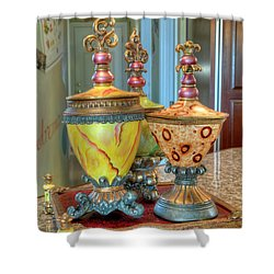 Two Ornate Colorful Vases Or Urns Art Prints Shower Curtain