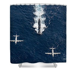 Shower Curtain featuring the photograph Two P-3 Orion Maritime Surveillance by Stocktrek Images