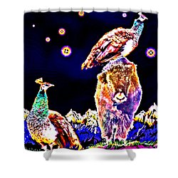 Two Peacocks And A Yak Shower Curtain