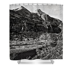Two Peaks - Bw Shower Curtain by Christopher Holmes