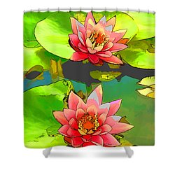 Two Pink Blooming Water Lilies  Shower Curtain by Lanjee Chee