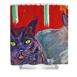Two Posh Cats Shower Curtain by Charles Stuart
