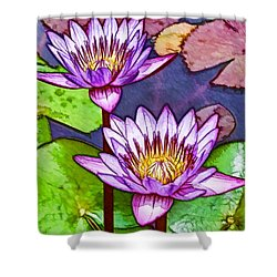Two Purple Lotus Flower Shower Curtain by Lanjee Chee