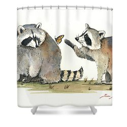 Two Raccoons Shower Curtain