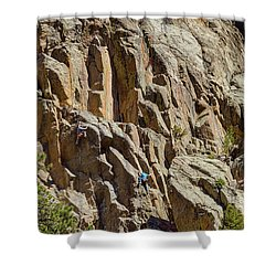 Shower Curtain featuring the photograph Two Rock Climbers Making Their Way by James BO Insogna