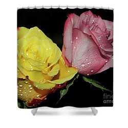 Shower Curtain featuring the photograph Two Roses by Elvira Ladocki