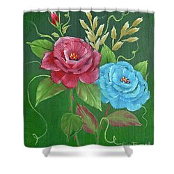 Shower Curtain featuring the painting Two Roses Red And Blue by Jimmie Bartlett