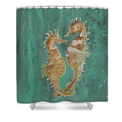 Two Seahorse Lovers Shower Curtain by Robin Maria Pedrero