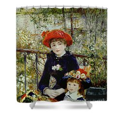 Two Sisters Shower Curtain by Pierre Auguste Renoir