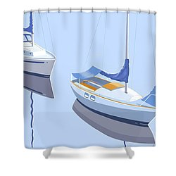 Two Sloops Shower Curtain