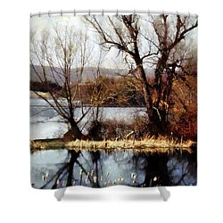 Two Souls Reflect Shower Curtain by Janine Riley