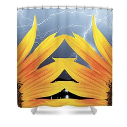 Two Sunflower Lightning Storm Shower Curtain by James BO  Insogna
