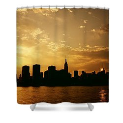 Two Suns - The New York City Skyline In Silhouette At Sunset Shower Curtain by Vivienne Gucwa