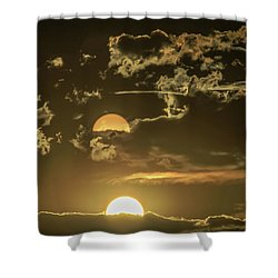 Two Suns Setting Shower Curtain
