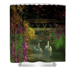 Two Swans And A Bridge Shower Curtain