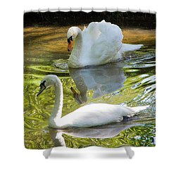 Two Swans On A Lake Shower Curtain