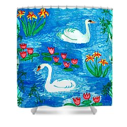 Two Swans Shower Curtain by Sushila Burgess