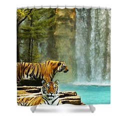Two Tigers Shower Curtain