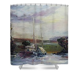 Two Tired Adventurers Shower Curtain by Barbara Pommerenke