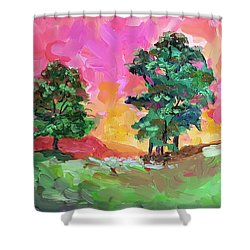Two Trees Shower Curtain by Janet Garcia