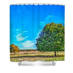 Two Trees On The Illinois Prairie Shower Curtain