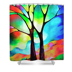 Two Trees Shower Curtain by Sally Trace