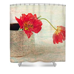 Two  Tulips   Shower Curtain by Catherine Lau