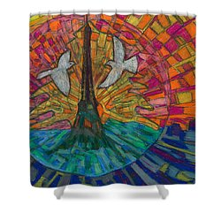 Shower Curtain featuring the painting Two Turtle Doves by Denise Weaver Ross