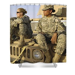 Two U.s. Army Soldiers Relax Prior Shower Curtain by Stocktrek Images