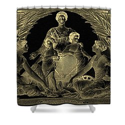 Shower Curtain featuring the photograph Two U.s. Dollar Bill - 1896 Educational Series In Gold On Black  by Serge Averbukh