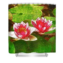 Two Waterlily Flower Shower Curtain by Lanjee Chee