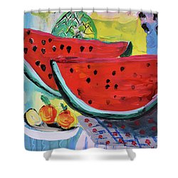 Two Watermelons And Pineapple Shower Curtain