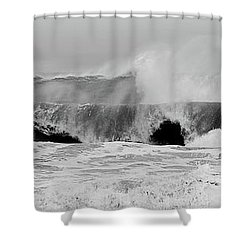 Two Waves Are Better Than One - Jersey Shore Shower Curtain by Angie Tirado
