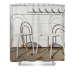 Shower Curtain featuring the photograph Two White Chairs And Autumn Wind by Gary Slawsky