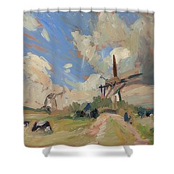 Two Windmills Shower Curtain by Nop Briex