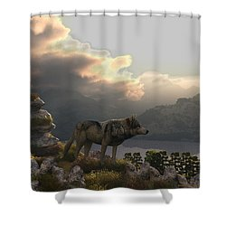 Two Wolfs On A Lookout  Shower Curtain by Walter Colvin