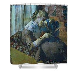 Two Women Shower Curtain by Edgar Degas
