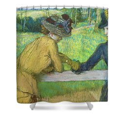 Two Women Leaning On A Gate Shower Curtain by Edgar Degas