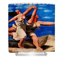 Two Women Running On The Beach Shower Curtain