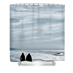 Two Women Walking At The Beach In The Winter Shower Curtain by Jose Elias - Sofia Pereira
