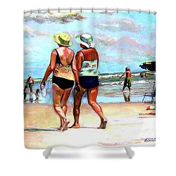 Two Women Walking On The Beach Shower Curtain by Stan Esson
