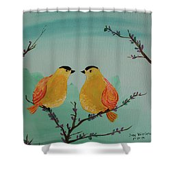 Two Yellow Chickadees Shower Curtain