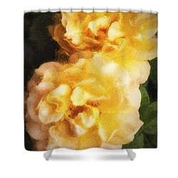 Shower Curtain featuring the photograph Two Yellow Roses  ... by Chuck Caramella