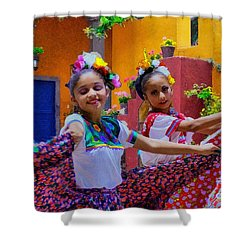 Shower Curtain featuring the photograph Two Young Mexican Girls Dancing by John  Kolenberg