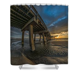 Tybee Island Beach Pier  Shower Curtain