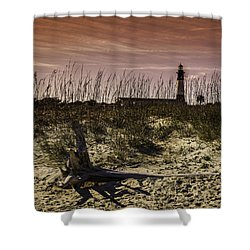 Tybee Lighthouse Sunset Shower Curtain