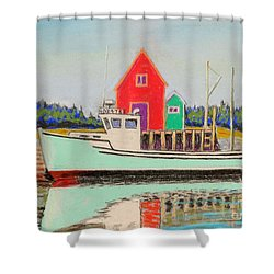 Typical Fishing Vessel Nova Scotia  Shower Curtain