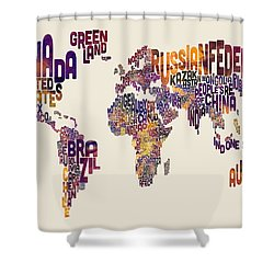 Typography Text Map Of The World Map Shower Curtain by Michael Tompsett